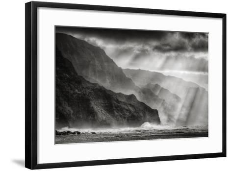 Sacred Light and Mist at Na Pali Coast, Kauai Hawaii-Vincent James-Framed Art Print