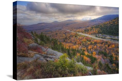 Autumn Road Through the White Mountains, New Hampshire-Vincent James-Stretched Canvas Print
