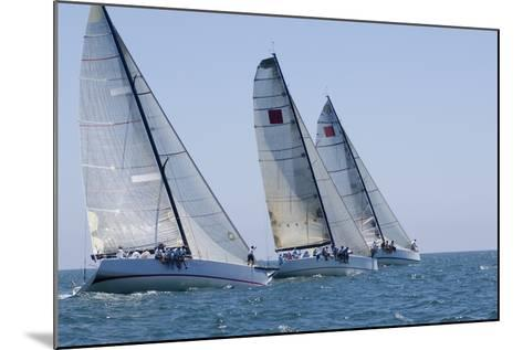 Three Yachts Compete in Team Sailing Event, California--Mounted Photo