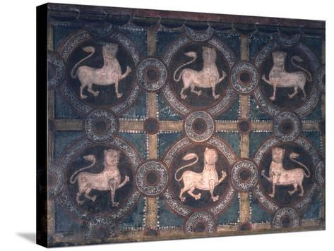 Fresco of Lions on Decorative Ground, 11th C--Stretched Canvas Print