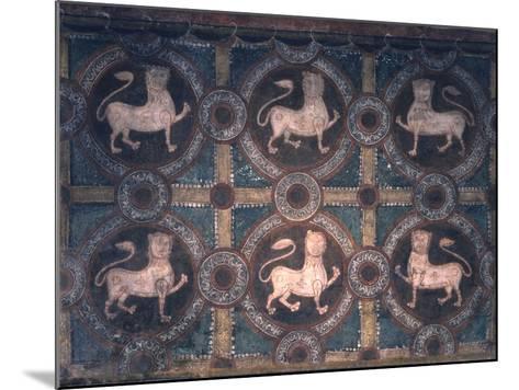 Fresco of Lions on Decorative Ground, 11th C--Mounted Photo