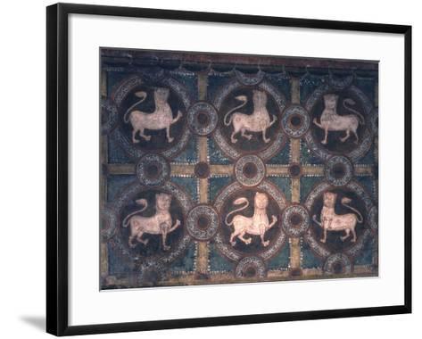 Fresco of Lions on Decorative Ground, 11th C--Framed Art Print
