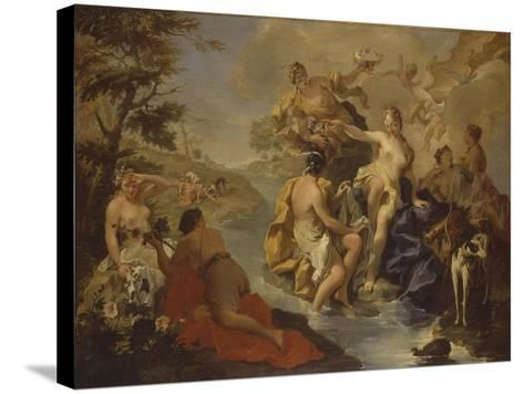 Diana with the Nymphs and Actaeon Devoured by Dogs-Giambattista Pittoni-Stretched Canvas Print
