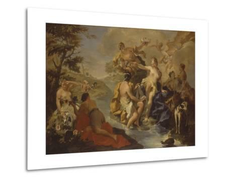 Diana with the Nymphs and Actaeon Devoured by Dogs-Giambattista Pittoni-Metal Print