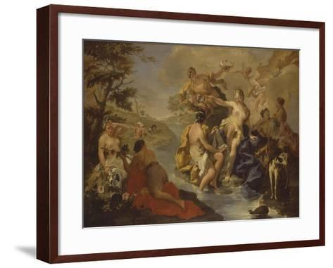 Diana with the Nymphs and Actaeon Devoured by Dogs-Giambattista Pittoni-Framed Art Print