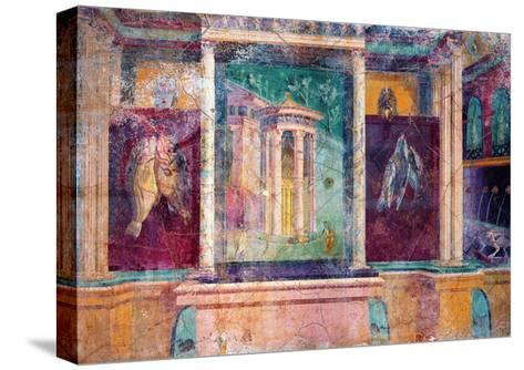 Wall Fresco with Architecture, C. 40-30 B.C.--Stretched Canvas Print