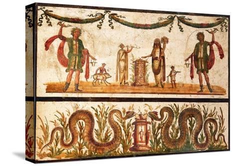 Lari Sacrificing and Agathodemon Snakes at Altar, C.55-79--Stretched Canvas Print