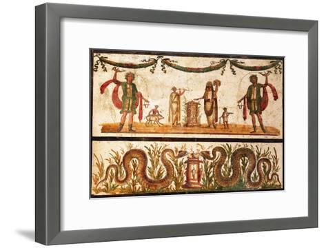 Lari Sacrificing and Agathodemon Snakes at Altar, C.55-79--Framed Art Print