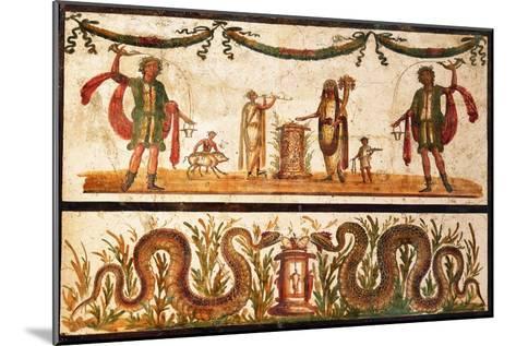 Lari Sacrificing and Agathodemon Snakes at Altar, C.55-79--Mounted Art Print