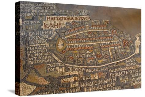 Madaba Mosaic Map. Detail of Jerusalem, 542-570--Stretched Canvas Print