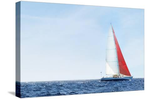 Yacht on Ocean--Stretched Canvas Print