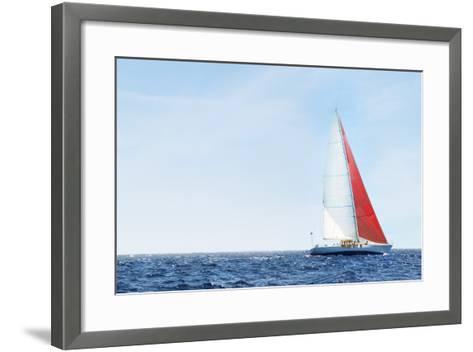 Yacht on Ocean--Framed Art Print
