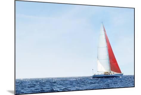 Yacht on Ocean--Mounted Photo