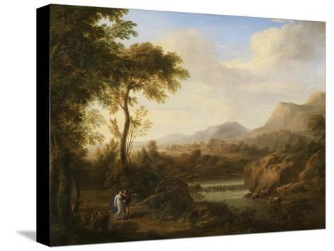 Classical River Landscape with Cattle and Figures-Gaetano Tambroni-Stretched Canvas Print