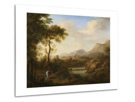 Classical River Landscape with Cattle and Figures-Gaetano Tambroni-Metal Print