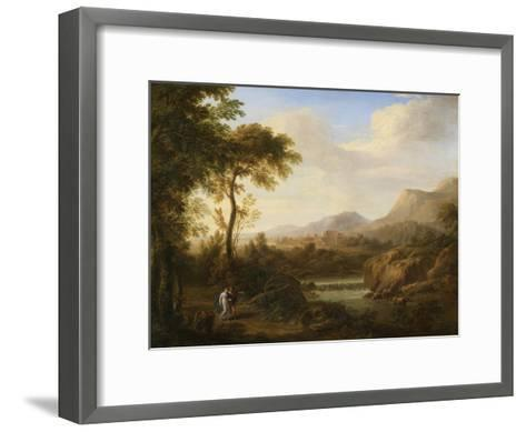 Classical River Landscape with Cattle and Figures-Gaetano Tambroni-Framed Art Print