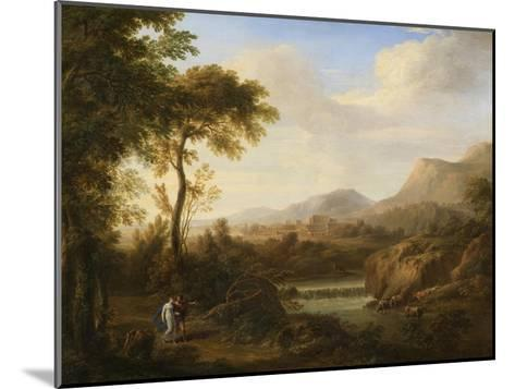Classical River Landscape with Cattle and Figures-Gaetano Tambroni-Mounted Art Print