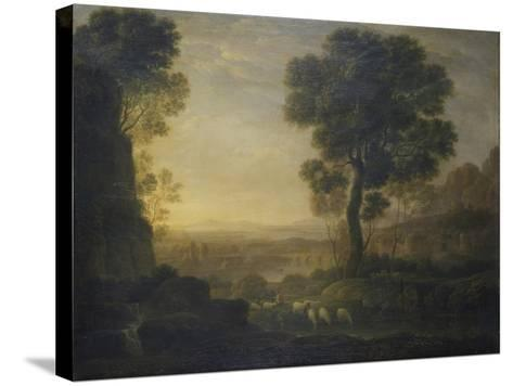 Landscape with Flock of Sheep at the River, 17th C-Claude Lorraine-Stretched Canvas Print