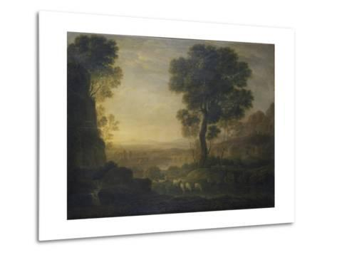 Landscape with Flock of Sheep at the River, 17th C-Claude Lorraine-Metal Print
