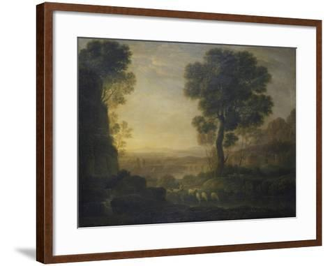 Landscape with Flock of Sheep at the River, 17th C-Claude Lorraine-Framed Art Print