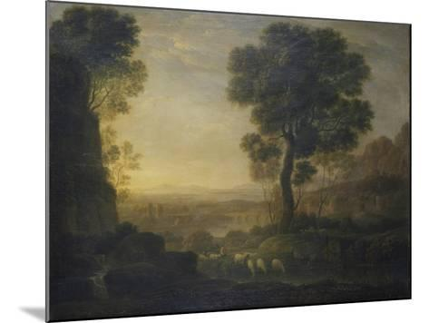 Landscape with Flock of Sheep at the River, 17th C-Claude Lorraine-Mounted Art Print