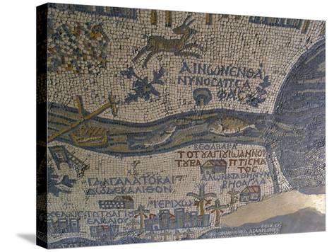 Madaba Mosaic Map, Detail of River Jordan, 542-570--Stretched Canvas Print