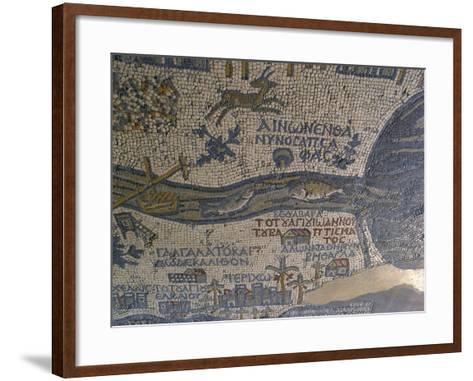 Madaba Mosaic Map, Detail of River Jordan, 542-570--Framed Art Print