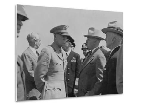 President Harry Truman and General Dwight Eisenhower Enroute to the Potsdam Conference--Metal Print