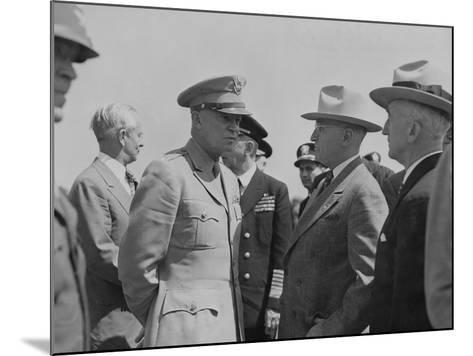 President Harry Truman and General Dwight Eisenhower Enroute to the Potsdam Conference--Mounted Photo