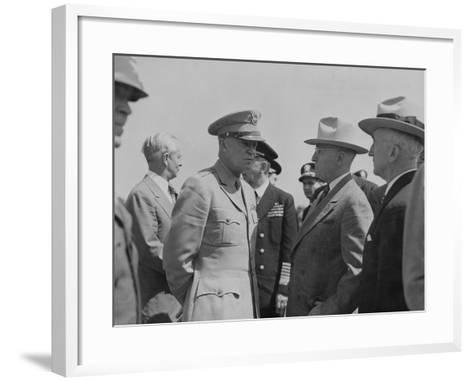 President Harry Truman and General Dwight Eisenhower Enroute to the Potsdam Conference--Framed Art Print