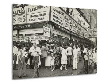 New York City Street Corner with Customers Ordering and Eating Nathan's Hot Dogs--Metal Print