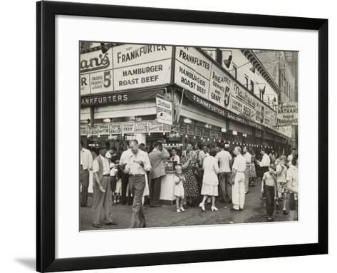 New York City Street Corner with Customers Ordering and Eating Nathan's Hot Dogs--Framed Art Print