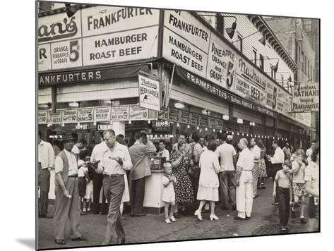 New York City Street Corner with Customers Ordering and Eating Nathan's Hot Dogs--Mounted Photo