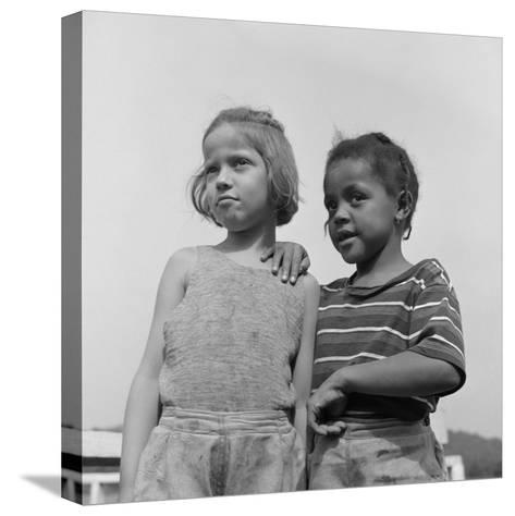 Two Girls at Camp Christmas Seals, a Racially Integrated Summer Camp in Haverstraw, NY-Gordon Parks-Stretched Canvas Print