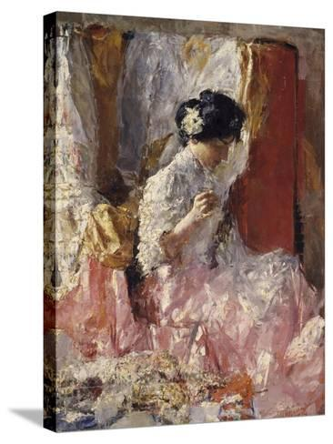 Girl Sewing (Elegantly Dressed Woman Sews in an Interior)-Antonio Mancini-Stretched Canvas Print