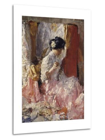Girl Sewing (Elegantly Dressed Woman Sews in an Interior)-Antonio Mancini-Metal Print