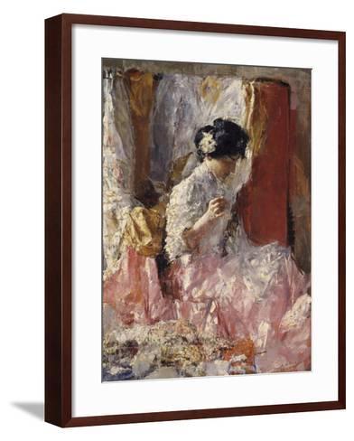 Girl Sewing (Elegantly Dressed Woman Sews in an Interior)-Antonio Mancini-Framed Art Print