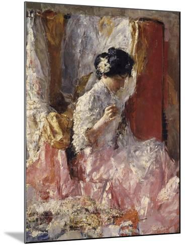 Girl Sewing (Elegantly Dressed Woman Sews in an Interior)-Antonio Mancini-Mounted Art Print