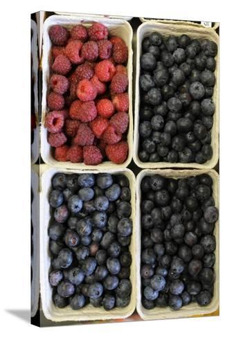 Organic, Blueberries and Raspberries--Stretched Canvas Print