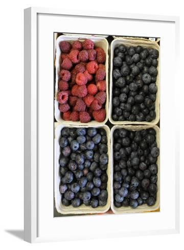 Organic, Blueberries and Raspberries--Framed Art Print