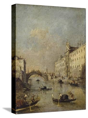 Venice or Rio Dei Mendicanti with Gondolas, 1780-99-Francesco Guardi-Stretched Canvas Print