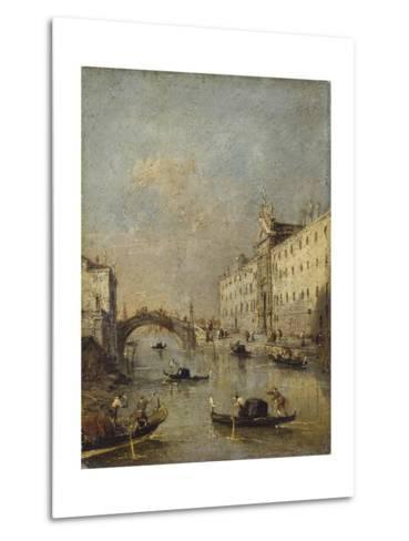 Venice or Rio Dei Mendicanti with Gondolas, 1780-99-Francesco Guardi-Metal Print