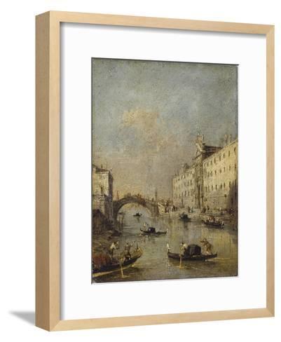 Venice or Rio Dei Mendicanti with Gondolas, 1780-99-Francesco Guardi-Framed Art Print