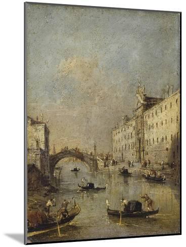 Venice or Rio Dei Mendicanti with Gondolas, 1780-99-Francesco Guardi-Mounted Art Print