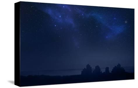 City Landscape at Night with Star Filled Sky, Nebula and Galaxy- pixel-Stretched Canvas Print