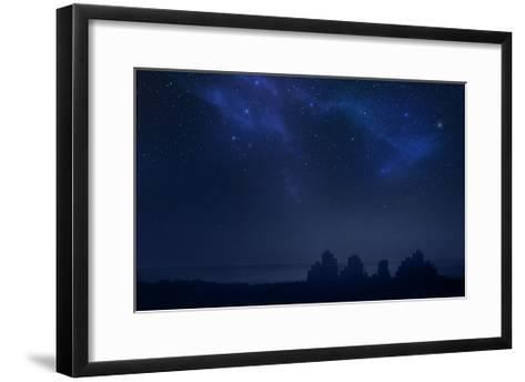 City Landscape at Night with Star Filled Sky, Nebula and Galaxy- pixel-Framed Art Print