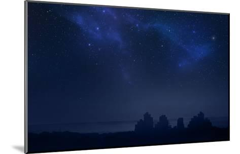 City Landscape at Night with Star Filled Sky, Nebula and Galaxy- pixel-Mounted Art Print