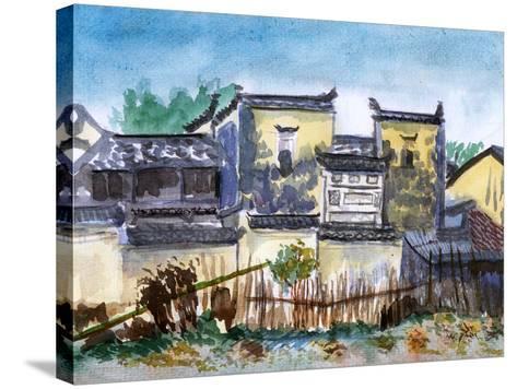 China Jiangxi Village Watercolor-jim80-Stretched Canvas Print