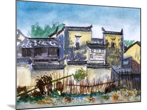 China Jiangxi Village Watercolor-jim80-Mounted Art Print