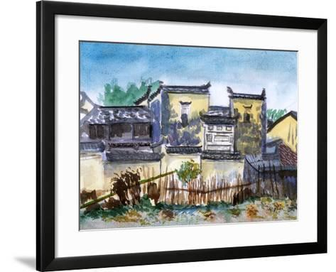 China Jiangxi Village Watercolor-jim80-Framed Art Print